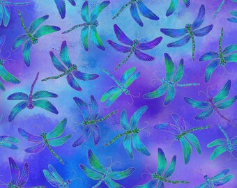 Timeless Treasures - Dragonfly - Dragonflies w/ Metallic Gold - Purple - Cotton Fabric by the Yard or Select Length CM7946-PRPL