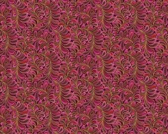 Benartex - Cat-I-Tude - Feather Frolic w/ Metallic Gold - Raspberry - Fabric by the Yard 4205MB-28