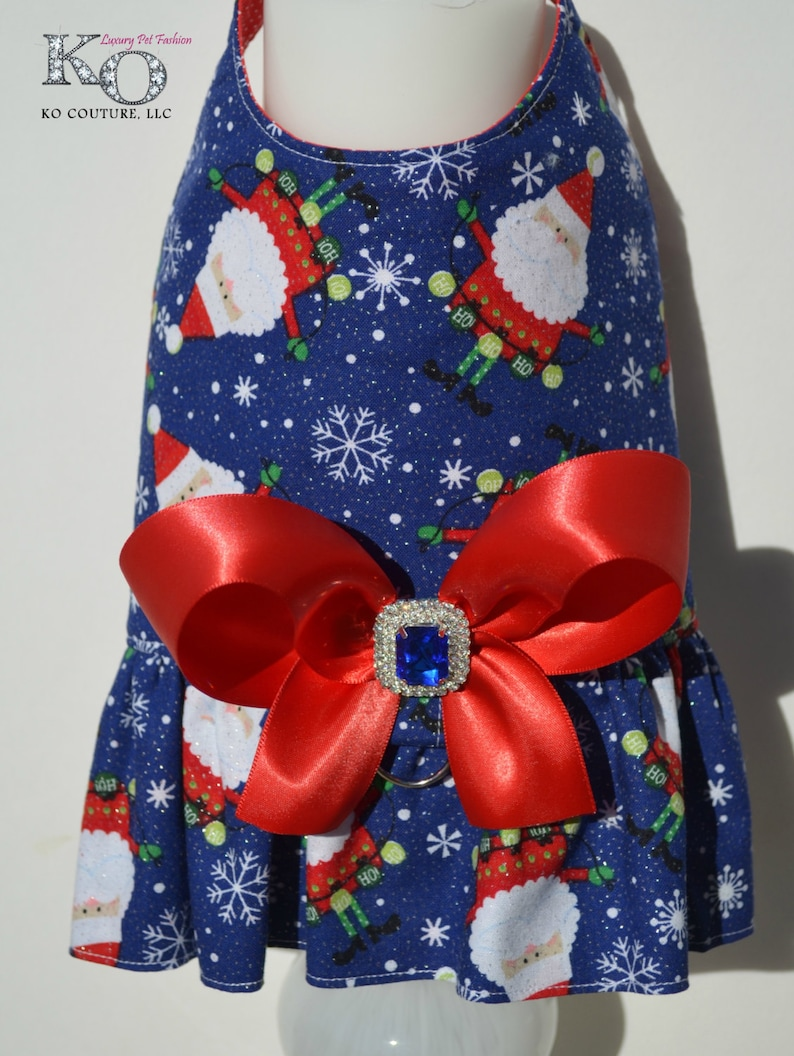 Dog Harness Vest Glitter Santa Bling Bow Harness Winter