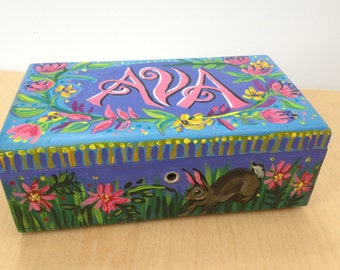 Custom Handpainted Name Box / Perfect Gift / Personialized Box / Tell Me Colors Name and Animals You Want Painted on the Box!
