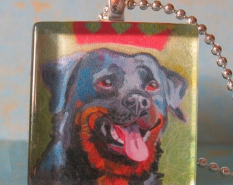Rottweiler Glass Tile Pendant by Gena Semenov - FREE SHIPPING USA