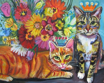 Cats Are Always Curious About Flowers by Gena Semenov - Free Shipping USA