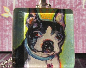 Boston Terrier glass tile pendant (May) by Gena Semenov - FREE SHIPPING USA