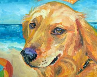 Golden Retriever Art Print by Gena Semenov - FREE shipping USA
