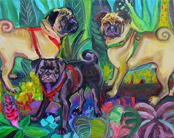 3 Pugs in the Jungle Art Print by Gena Semenov - FREE Shipping USA