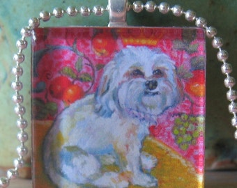 Fluffy Dog and Oranges Glass Tile Pendant by Gena Semenov FREE SHIPPING USA