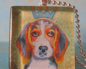 King Beagle Glass Tile Pendant by Gena Semenov - FREE SHIPPING USA