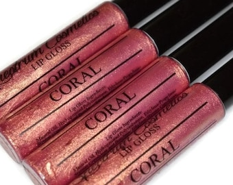 CORAL Lip Gloss with Gold Sparkle