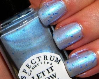 LET IT SNOW Iridescent Light blue Polish with Blue Glitter