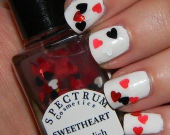 SWEETHEART Nail Polish Glitter Heart Top Coat