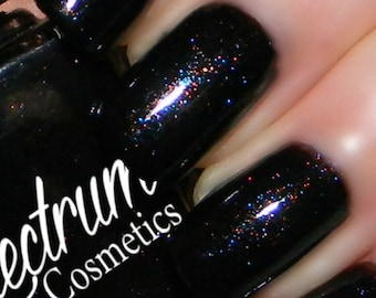 MACABRE Black Nail Polish with Teal and Copper Shimmer