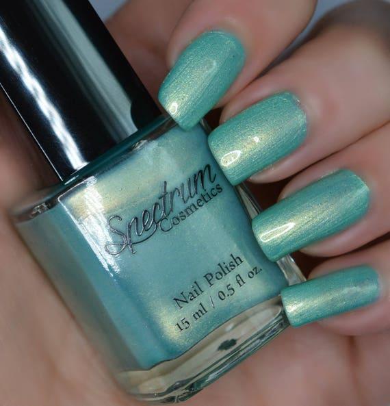 SEA SERPENT Shimmery green nail polish with gold iridescence | Etsy