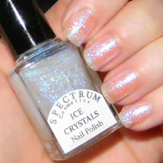 ICE CRYSTALS Glittery Top coat Nail Polish Winter Blues | Etsy