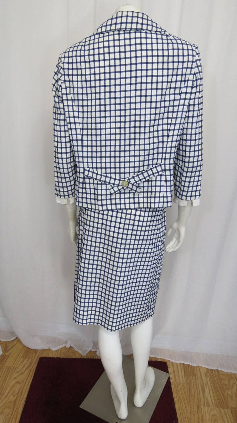 1960/'s David Crystal adorable navy and white check seersucker skirt suit size ML