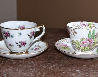 Tea for Two, 2 vintage tea cups and saucers (England Duo) - Radfords Fenton Bone China and Victoria Bone China