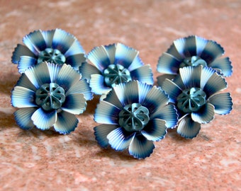6 vintage Metal Curtain Pins, flower design, blue tones, pin back draperies or curtains mid-century style