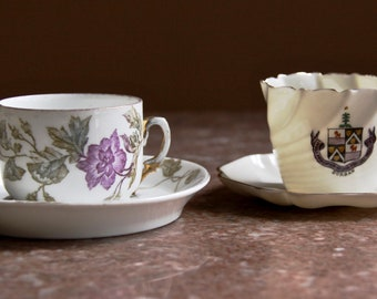 A Pair of delicate vintage small demitasse/espresso/tea China Cups with Saucers, one with Durban logo, the other with floral design