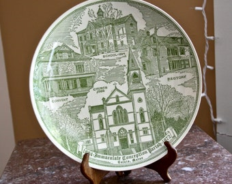 Calais Maine Souvenir Plate - 1884 Immaculate Conception Parish 1972 - green transfer ware - parish buildings