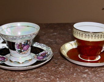 Tea for Two, 2 vintage tea cups and saucers (Royal Duo) - Royal Crown Lusterware and Royal Grafton