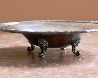 International Silver Company 1940s vintage oval footed candy dish, CAMILLE 6048, floral rim, nice patina