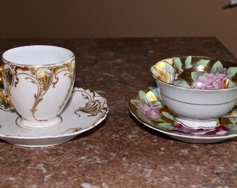 Tea for Two, 2 vintage tea cups and saucers (Gold Duo) - Florence T&V French set and Echo China from Japan set