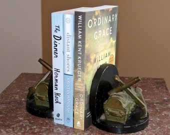 Pair of Vintage Nautical Bookends - treasure chest and anchor - heavy duty, felt bottom - use for books, door stop, decor