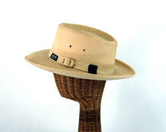 1b6d1f4f861e25 Vintage Original Panama Jack hat canvas safari hat fedora cream fabric Size  L