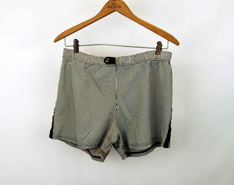 1950s 60s mens swimming trunks bathing suit drawstring waist striped Van Heusen Size S/M