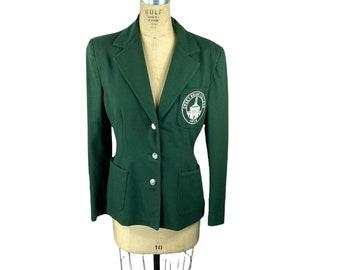 1950s wool college school blazer with crest green size M/L