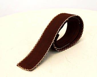 1950s necktie brown knit square bottom skinny tie
