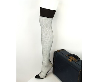 9ad12b4bf 1940s fishnet stockings with seams thigh high hose gray cuban heel hosiery  NOS