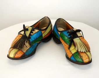 1970s womens golf shoes patchwork leather multi colored golf shoes Size 7 B 06f644d7f55
