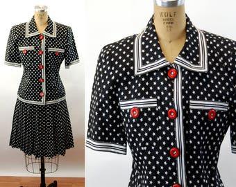 3196e384aaa642 1990s suit skirt suit pleated skirt black white stars and stripes novelty print  silk and linen Rickie Freeman for Teri Jon Size M
