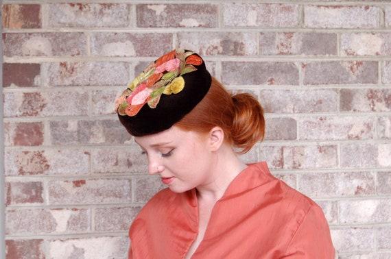 1950s velvet leaves hat brown velvet pillbox hat p