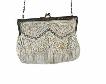 1920s beaded purse white small petite bag steel frame