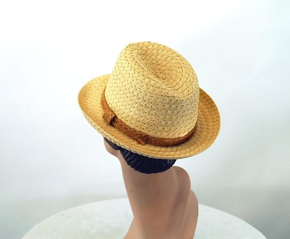 Straw fedora hat jute band summer hat natural str… - image 4