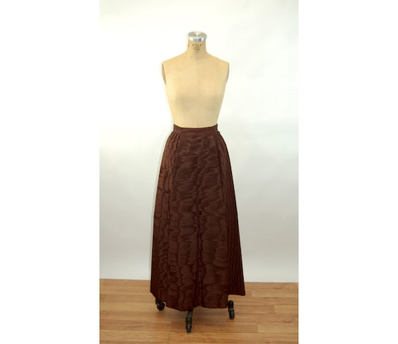 1960s long skirt maxi skirt moire silk faille brow