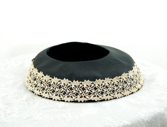 1950s saucer hat New Look dish platter hat black … - image 5