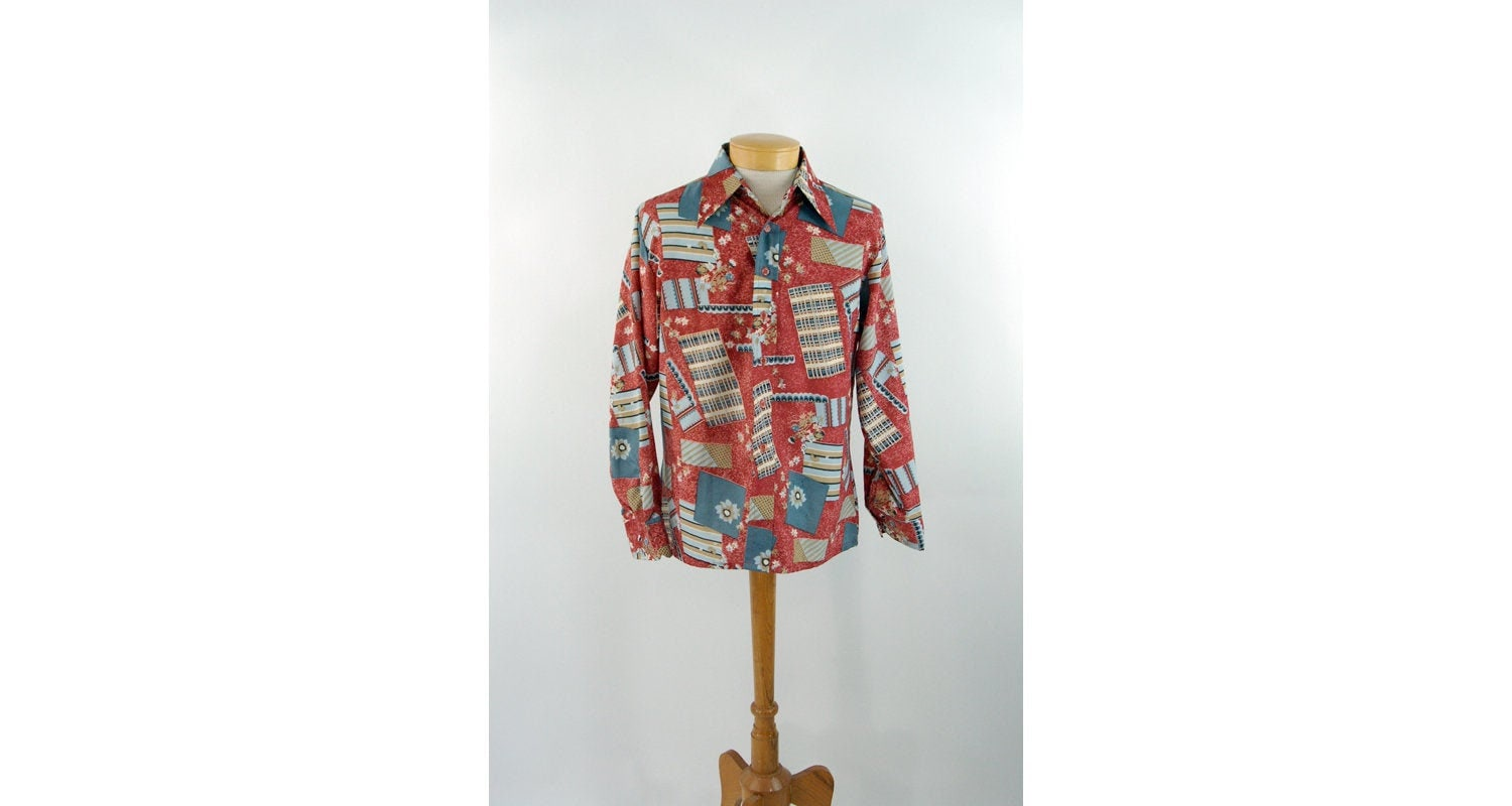 1970s Men's Shirt Styles – Vintage 70s Shirts for Guys 1970S Mens Disco Shirt Polyester Abstract Size L $45.00 AT vintagedancer.com