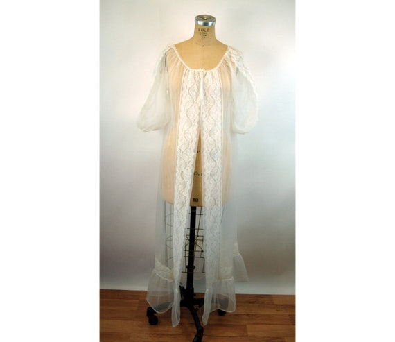 White LILY 1960/'s 70/'s Vintage Sheer White Pink Nylon Chiffon Robe w Layered Sleeves  by Val MODE  size Small  Deadstock w Tags