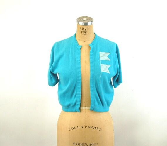 1950s sweater cropped cardigan blue nautical cropp