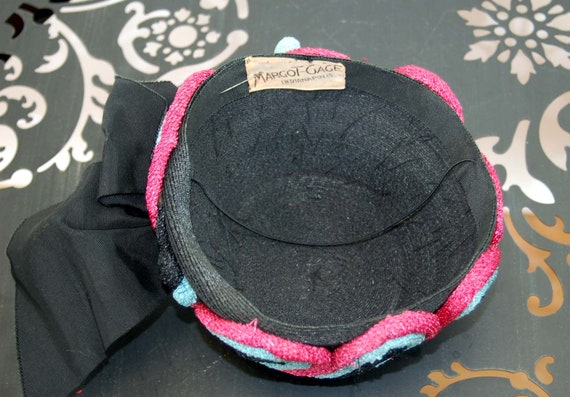 1940s hat toque hat black pink turquoise rope loo… - image 8