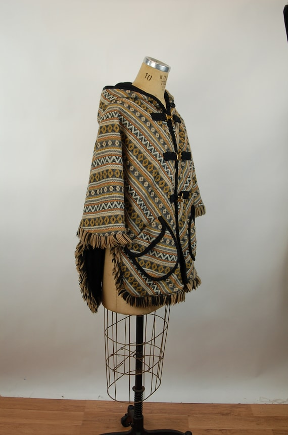1960s cape reversible wool cape poncho with hood … - image 6