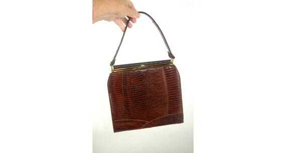 1950s lizard skin purse handbag kelly bag brown l… - image 1