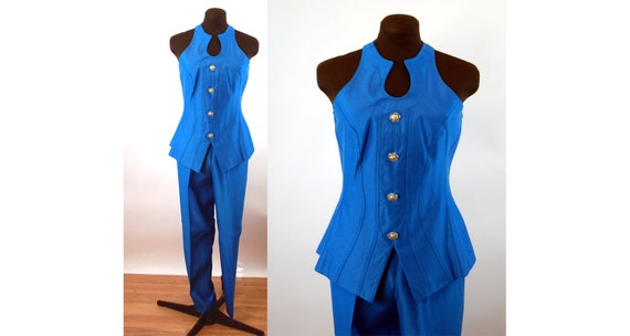 1990s pant suit royal blue tunic and slim pants wi