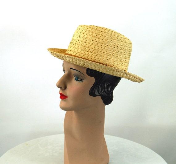 Straw fedora hat jute band summer hat natural str… - image 2