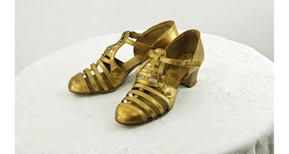 1920s 30s gold shoes T strap cage gladiator shoes