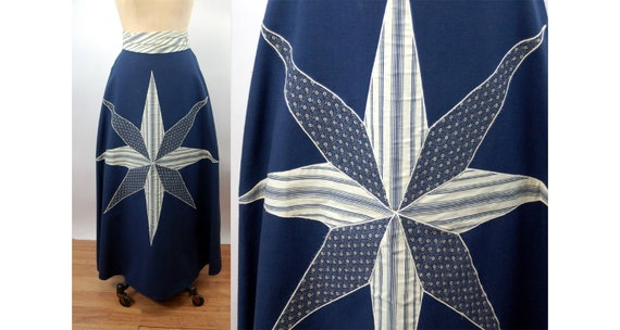 1960s 70s maxi skirt with patchwork star applique