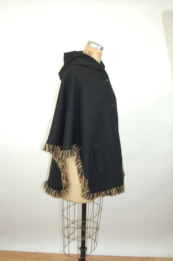 1960s cape reversible wool cape poncho with hood … - image 10