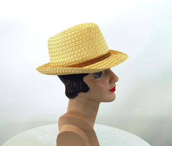 Straw fedora hat jute band summer hat natural str… - image 3
